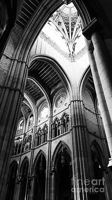 Black And White Almudena Cathedral Interior In Madrid Art Print