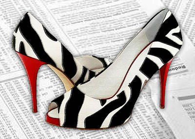 High Heels Painting - Black And White And Red All Over by Elaine Plesser