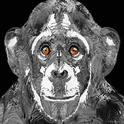 Chimpanzee Painting - Black And White Art - Monkey Business 2 - By Sharon Cummings by Sharon Cummings
