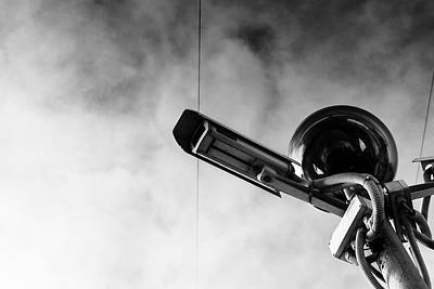 Photograph - Black And White Art Photograph Of Cctv Camera by John Williams