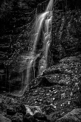 Photograph - Black And White Autumn Waterfall by Dan Sproul