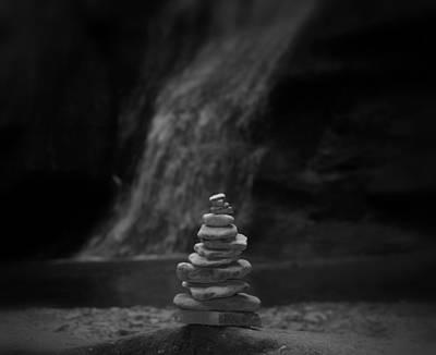 Black And White Balanced Stones Art Print