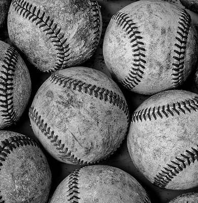 Photograph - Black And White Baseballs by Garry Gay