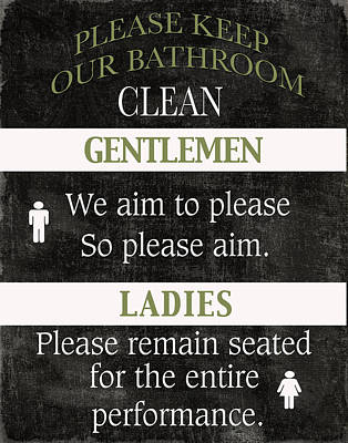 Performance Mixed Media - Black And White Bathroom Rules by Marilu Windvand