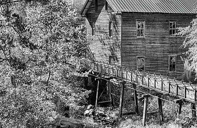 Photograph - Black And White Bean's Mill by JC Findley