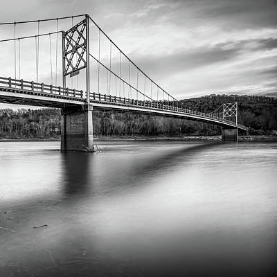 Photograph - Black And White Beaver Bridge - Northwest Arkansas by Gregory Ballos