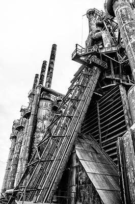 Black And White - Bethlehem Steel Mill Art Print by Bill Cannon