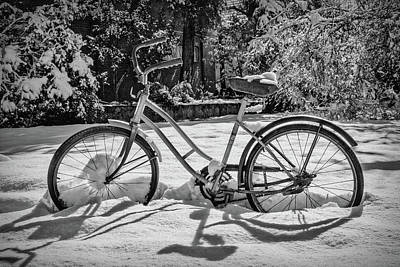 Photograph - Black And White Bike In The Snow by Debra and Dave Vanderlaan
