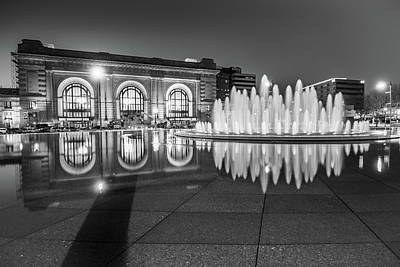 Photograph - Black And White Bloch Fountain And Union Station In Kansas City, Missouri  by Gregory Ballos