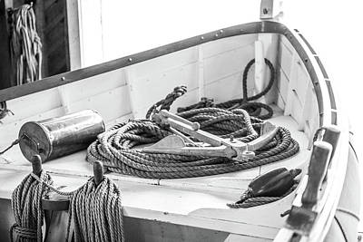 Photograph - Black And White Boat Anchor by Dan Sproul