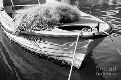 Photograph - Black And White Boat In Trogir, Croatia by Global Light Photography - Nicole Leffer