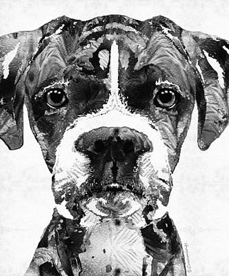 Boxer Dog Painting - Black And White Boxer Dog Art By Sharon Cummings  by Sharon Cummings