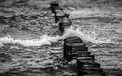 Photograph - Black And White Breakwater Wave Art Photo by Wall Art Prints