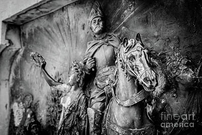 Photograph - Black And White, Bronze Arabian Horse Relief In Dubrovnik, Croatia by Global Light Photography - Nicole Leffer