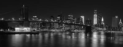 Photograph - Black And White Brooklyn Bridge by Shane Psaltis