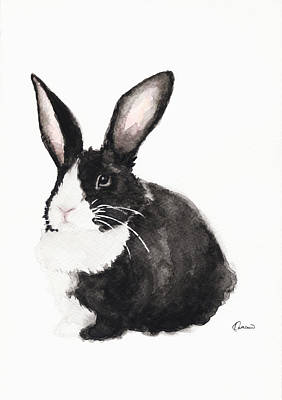 Rabbit Art Painting - Black And White Bunny by Kathleen Wong