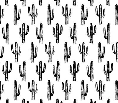 Roaring Red - Black and white cactus by Remioni Art