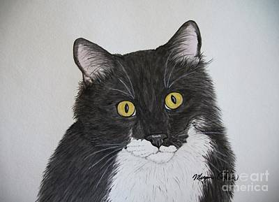 Black And White Cat Art Print by Megan Cohen