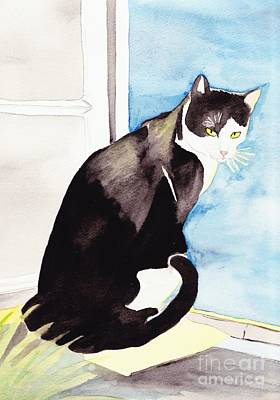 Black And White Cat Art Print by Michaela Bautz