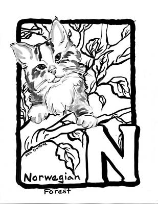 Wall Art - Painting - Black And White Cat Painting Norwegian Forest by Kim Guthrie