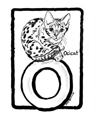 Wall Art - Painting - Black And White Cat Painting Ocicat Breed by Kim Guthrie