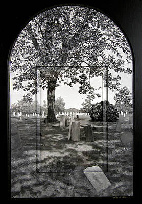 Cemetary Mixed Media - Black And White Cemetary Arched Top Frame by Michael Albin