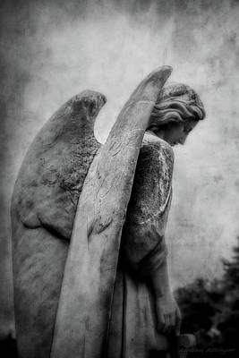 Photograph - Black And White Cemetery Guardian Angel Wings by Melissa Bittinger