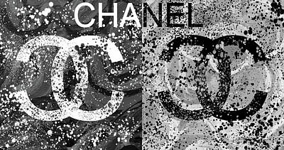 Black And White Art Mixed Media - Black And White Chanel Art by Dan Sproul