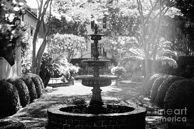 Photograph - Black And White Charleston Fountain by Heather Green