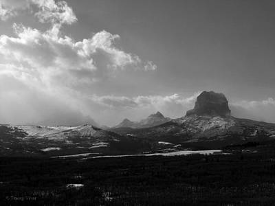 Photograph - Black And White, Chief Mountain, Winter by Tracey Vivar