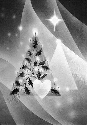 Painting - Black And White Christmas Tree by Laura Greco