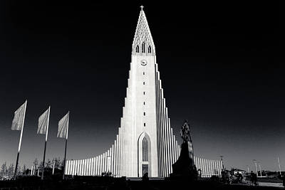 Photograph - Black And White Church Of Hallgrimur by Anthony Doudt