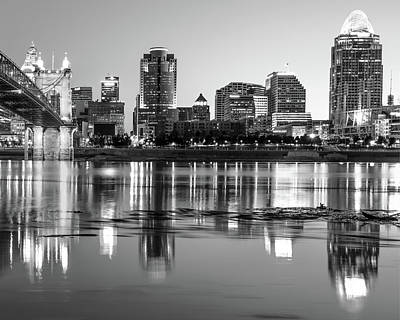 Photograph - Black And White Cincinnati Night Skyline Reflections by Gregory Ballos