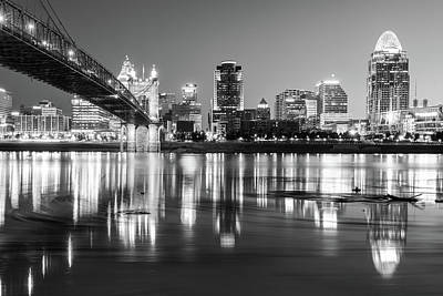 Photograph - Black And White Cincinnati Ohio River Skyline by Gregory Ballos