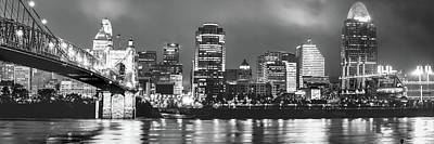 Photograph - Black And White Cincinnati Skyline Panorama by Gregory Ballos