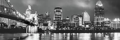 Photograph - Black And White Cincinnati Skyline Panorama by Gregory Ballos