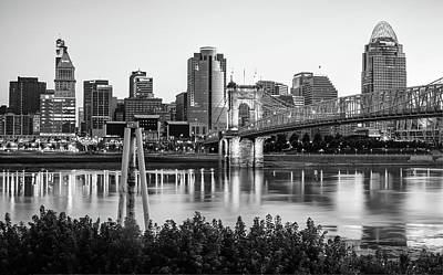 Photograph - Black And White Cincinnati Skyline View by Gregory Ballos