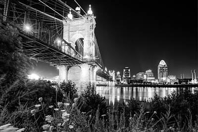Photograph - Black And White City Nights - Cincinnati Skyline by Gregory Ballos