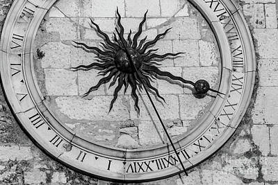 Photograph - Black And White - Clock On Diocletian's Palace Iron Gate In Narodni Trg, Split Croatia by Global Light Photography - Nicole Leffer
