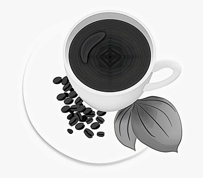 Drawing - Black And White Coffee Cup by Serena King