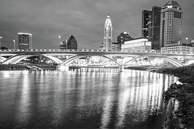 Photograph - Black And White Columbus Skyline At Dusk by Gregory Ballos