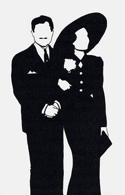 1930s Movies Drawing - Black And White Couple by Mel Thompson