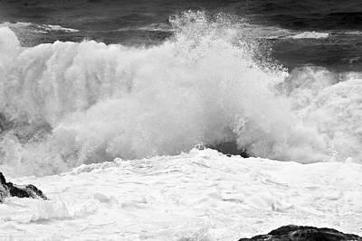 Photograph - Black And White Crashing Surf by Adam Jewell