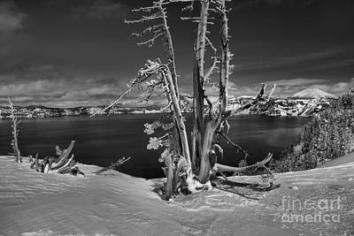 Photograph - Black And White Crater Lake Landscape by Adam Jewell