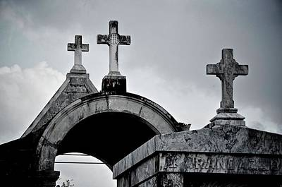 Graveyard Digital Art - Black And White Crosses by Alicia Morales