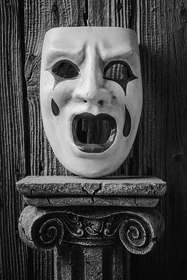 Crying Photograph - Black And White Crying Mask by Garry Gay