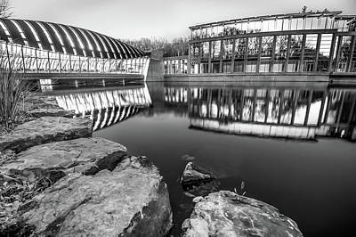 Photograph - Black And White Crystal Bridges Museum Reflections by Gregory Ballos