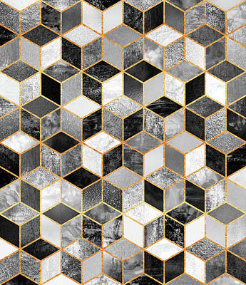 Abstract Digital Art - Black And White Cubes by Elisabeth Fredriksson