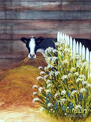 Painting - Black And White Dairy Cow - Hay There   by Janine Riley