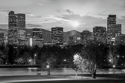 Photograph - Black And White Denver Colorado Downtown Skyline by Gregory Ballos